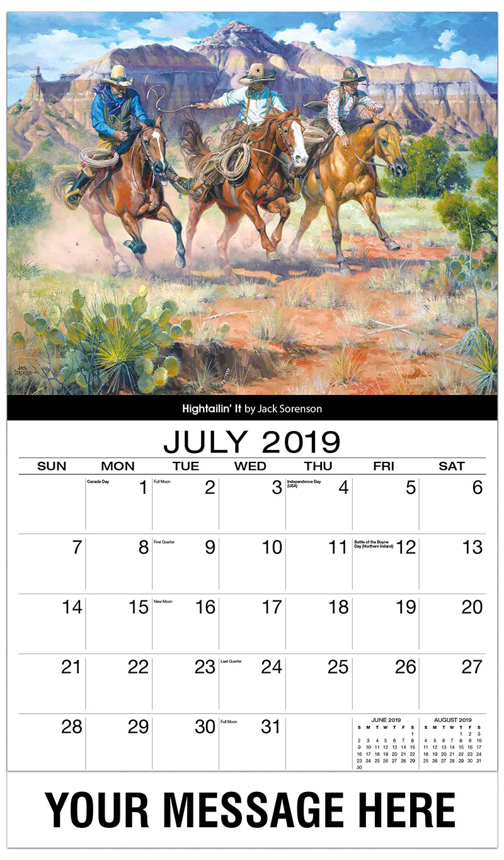 2019 Business Advertising Calendar - Hightailin' It By Jack Sorrenson - July