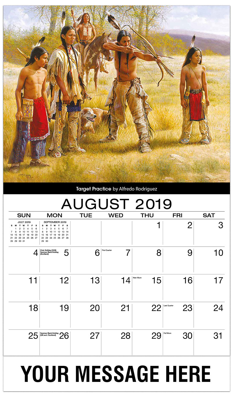2019 Business Advertising Calendar - Target Practice By Alfredo Rodriquez - August