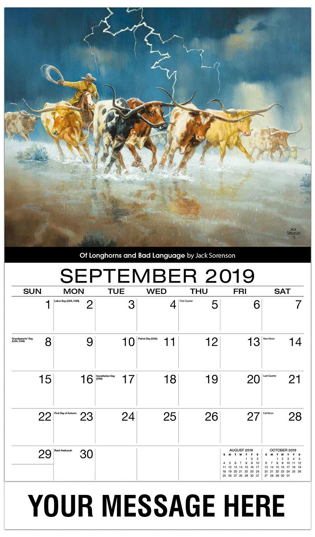 2019 Business Advertising Calendar - Of Longhorns And Bad Language By Jack Sorrenson - September