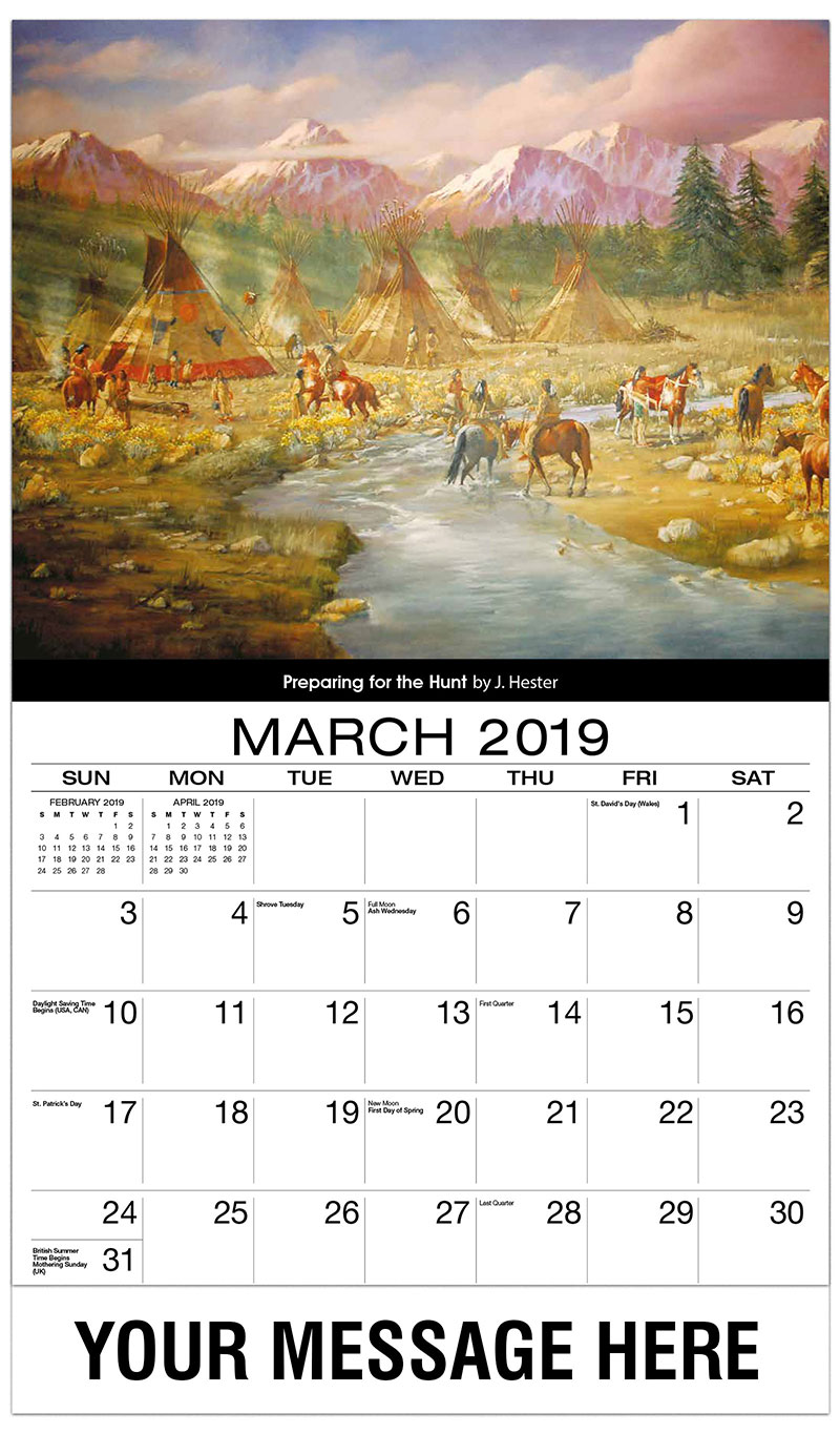 2019 Promo Calendar - Preparing For The Hunt By J. Hester - March