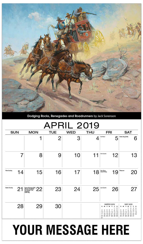 2019 Promo Calendar - Dodging Rocks, Renegades And Roadrunners By Jack Sorrenson - April