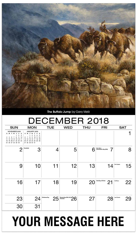 2019 Promotional Calendar - The Buffalo Jump By Gerry Metz - December_2018