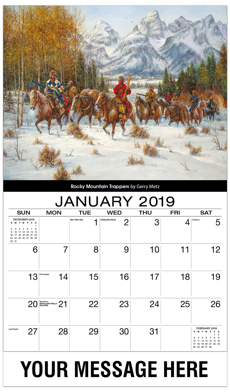 2019 Promotional Calendar - Rocky Mountain Trappers By Gerry Metz - January