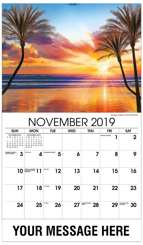 2019 Advertising Calendar - San Diego, California, on the Pacific Ocean - November