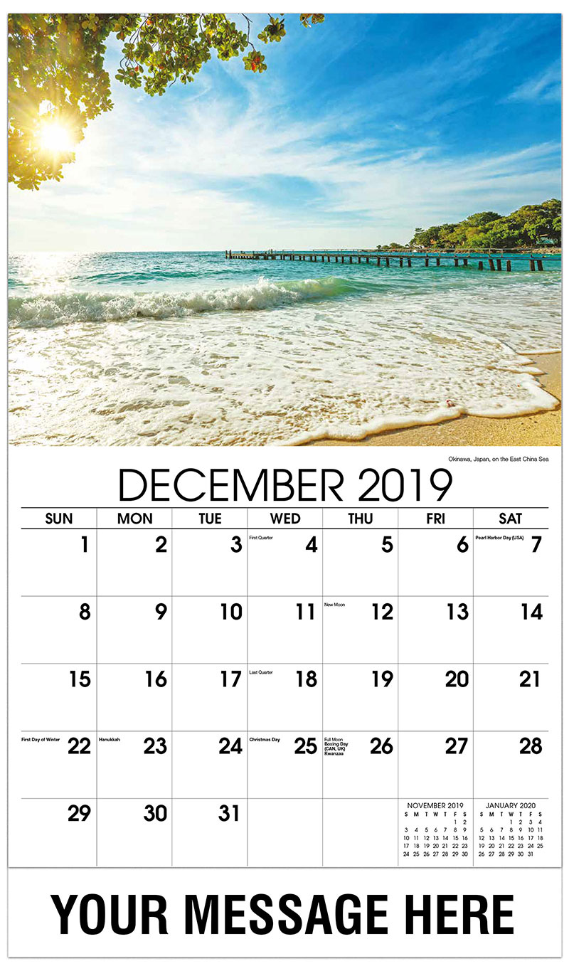 2019 Advertising Calendar - Okinawa, Japan, on the East China Sea - December_2019