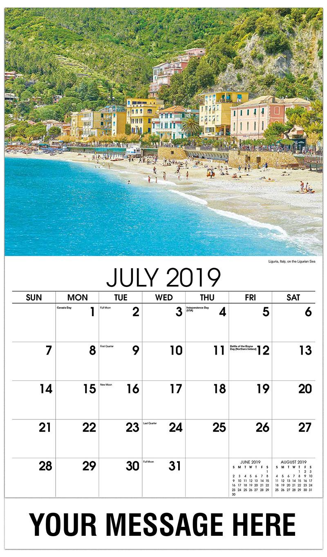 2019 Business Advertising Calendar - Liguria, Italy, on the Ligurian Sea - July