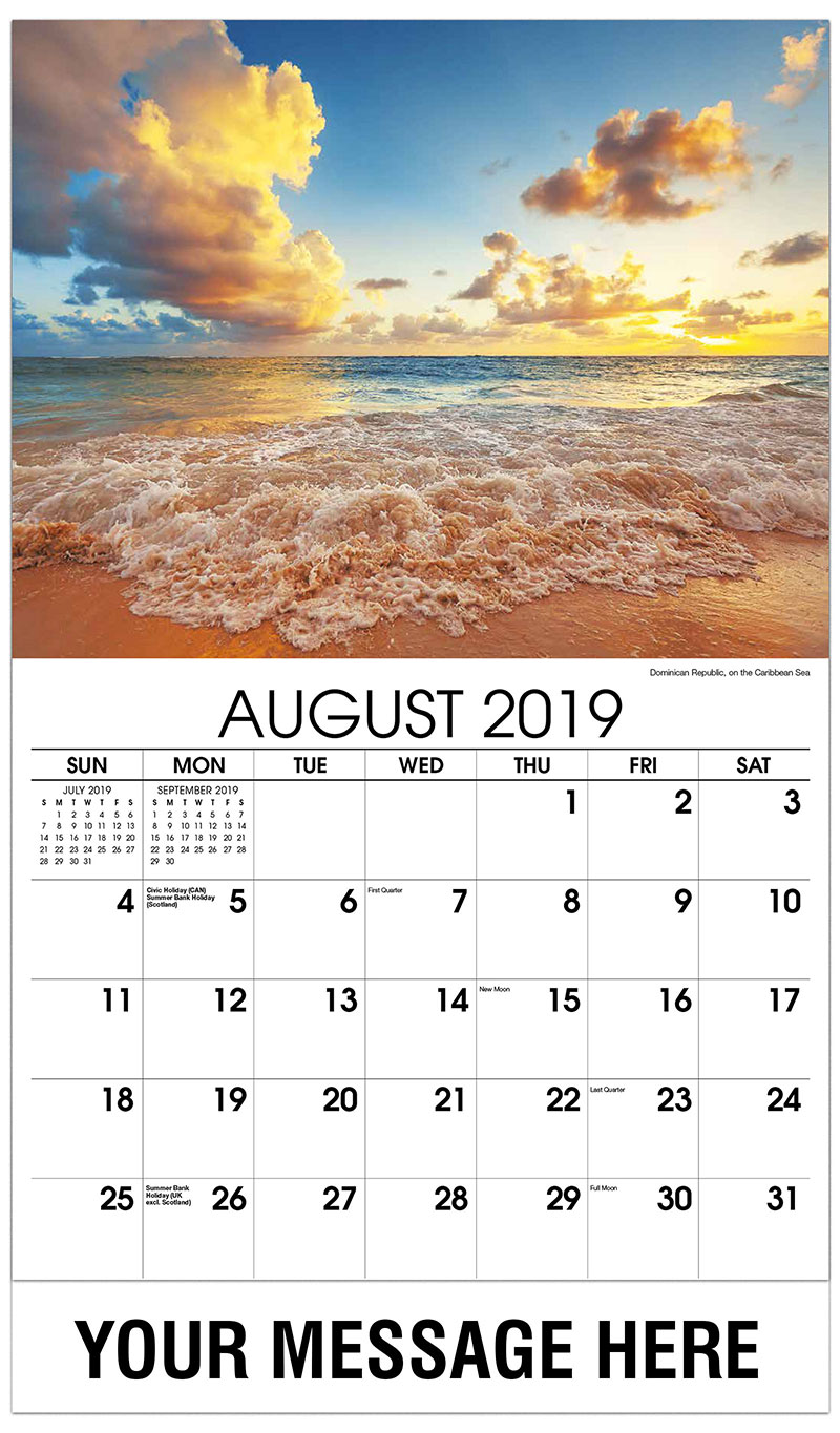 2019 Business Advertising Calendar - Dominican Republic, on the Caribbean Sea - August