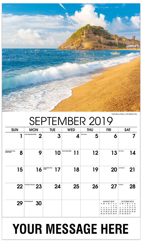 2019 Business Advertising Calendar - Costa Brava, Spain, on the Balearic Sea - September