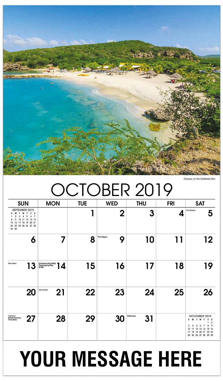 2019 Business Advertising Calendar - Curacao, on the Caribbean Sea - October