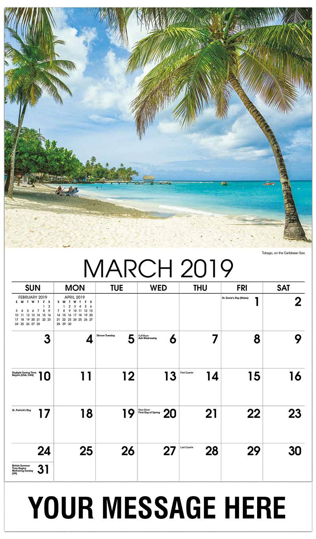 2019 Promo Calendar - Tobago, on the Caribbean Sea - March