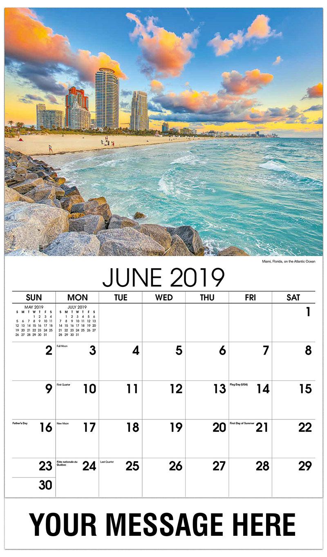 2019 Promo Calendar - Miami, Florida, on the Atlantic Ocean - June