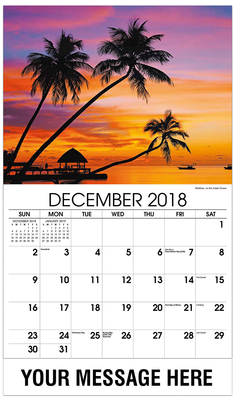 2019 Promotional Calendar - Maldives, on the Indian Ocean - December_2018