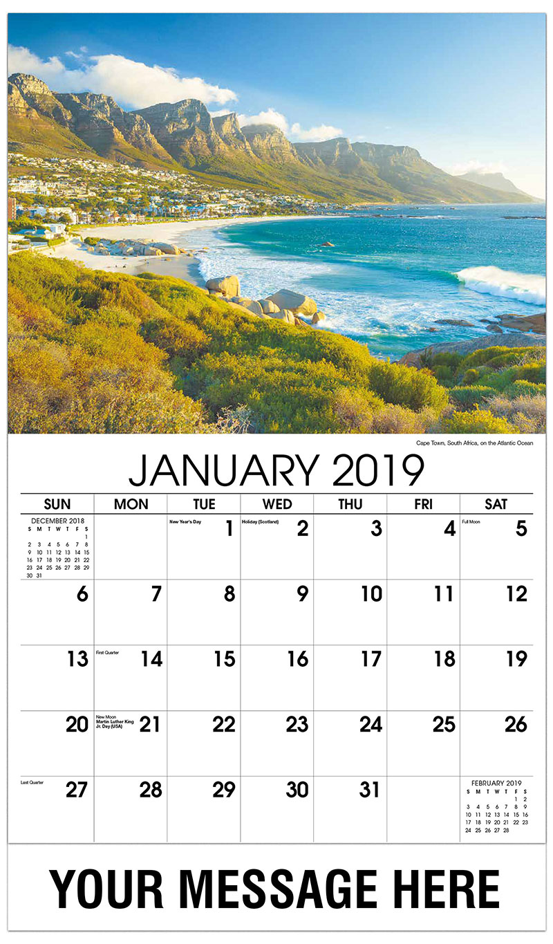 2019 Promotional Calendar - Cape Town, South Africa, on the Atlantic Ocean - January