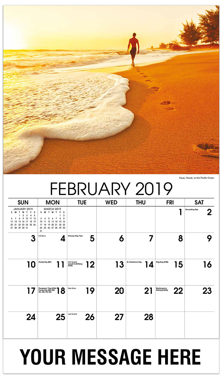 2019 Promotional Calendar - Kauai, Hawaii, on the Pacific Ocean - February