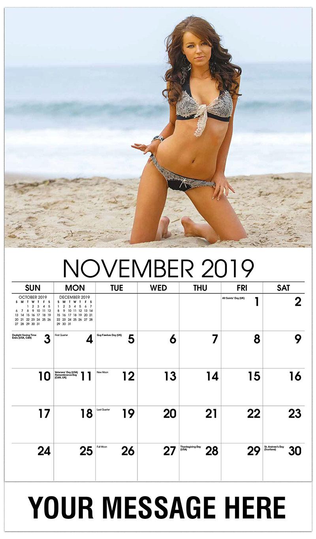2019 Advertising Calendar - Brunette on the Beach - November