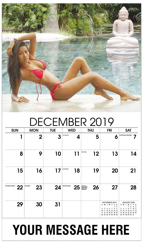 2019 Advertising Calendar - Asian Model by the Beach - December_2019