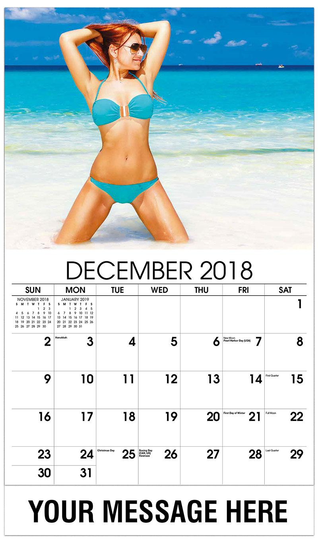 2019 Business Advertising Calendar - Red Head Kneeling in Water - December_2018