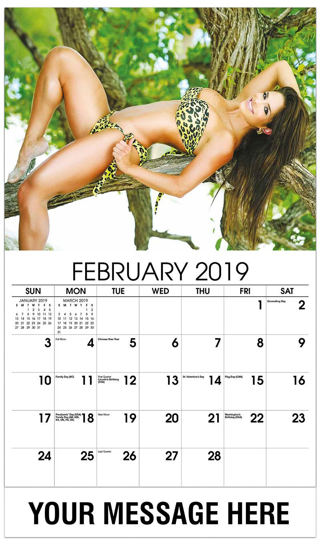 2019 Business Advertising Calendar - Model on aTree Branch - February