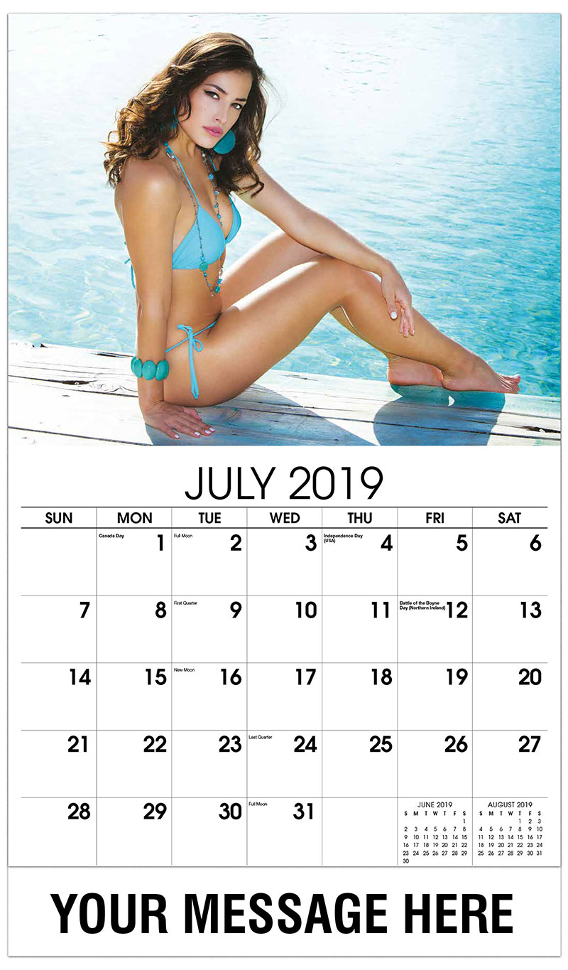 2019 Promo Calendar - Model Sitting by the Pool - July