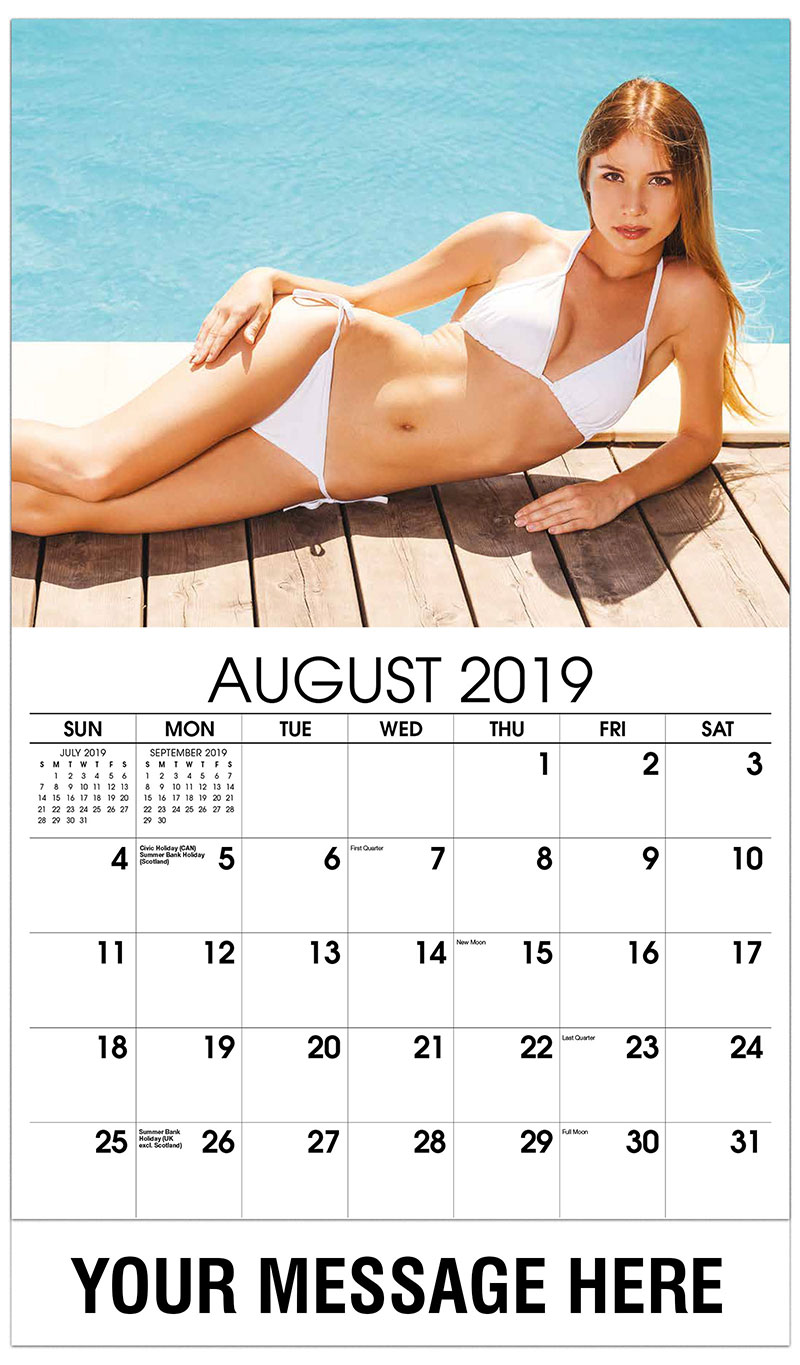 2019 Promo Calendar - Model White Swimsuit Relaxing by the Pool - August