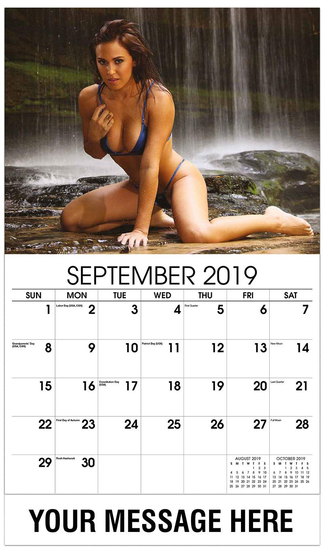 2019 Promo Calendar - Model Kneeling by the Waterfall - September