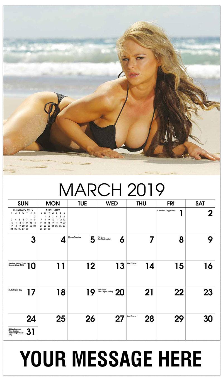 2019 Promotional Calendar - Blond Black Bikini Laying on Beach - March