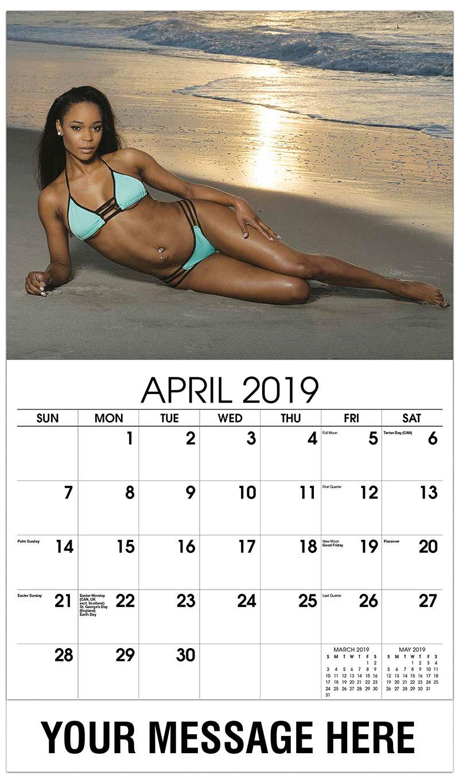 2019 Promotional Calendar - Model Posing on the Beach - April