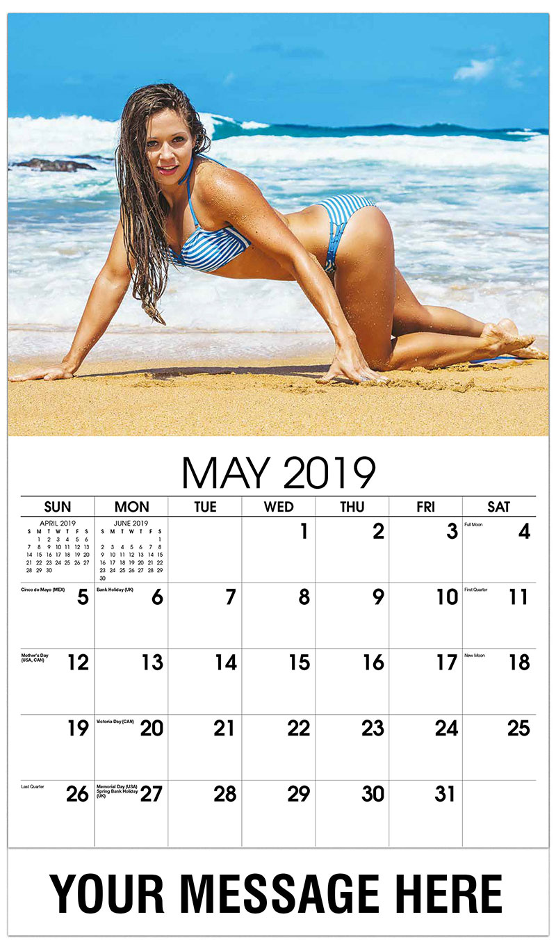 2019 Promotional Calendar - Model Crawling on the Beach - May