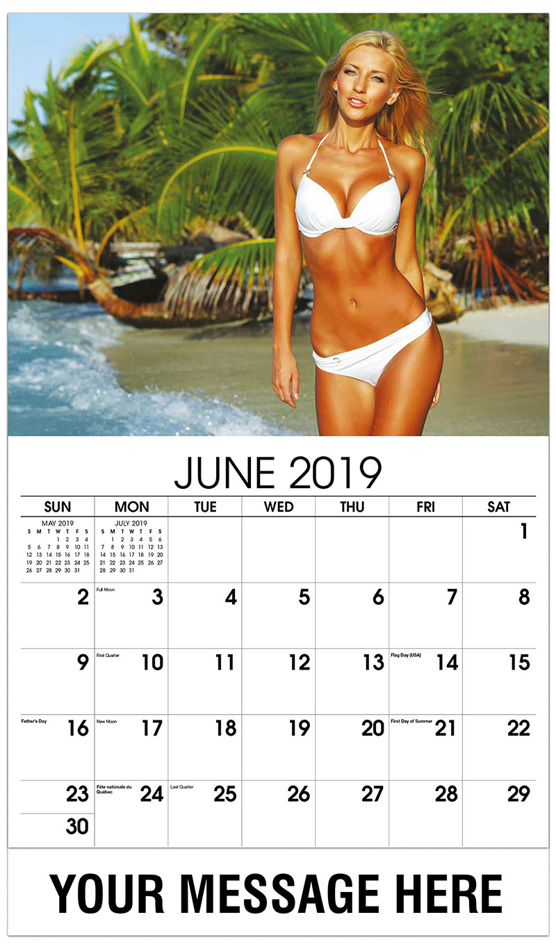 2019 Promotional Calendar - Model with Palm Tree in Background - June