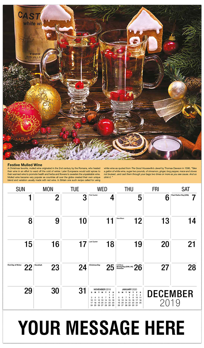 Monthly Calendar In : Wine storage and serving tips promotional calendar