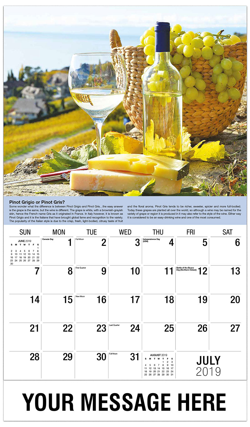 2019 Business Advertising Calendar - White Wine and Cheese - July