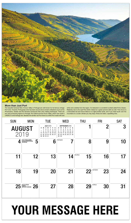 2019 Business Advertising Calendar - Vineyard Portugal - August