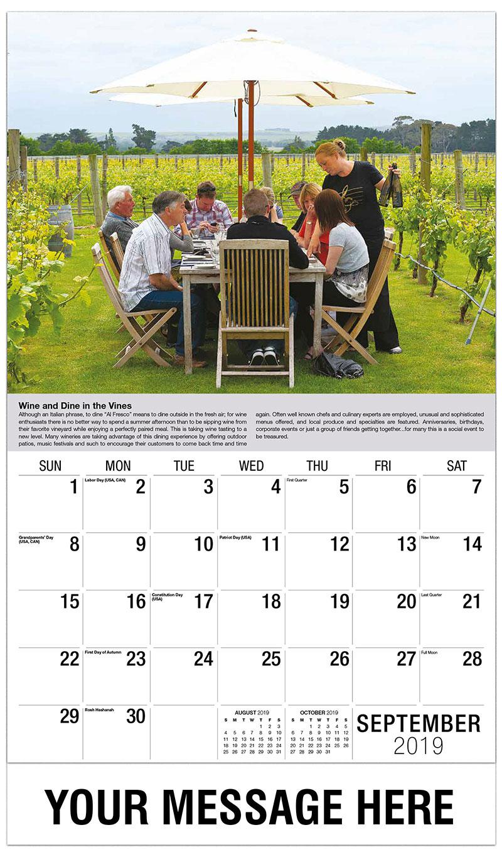 2019 Business Advertising Calendar - People Dining in Vineyard - September