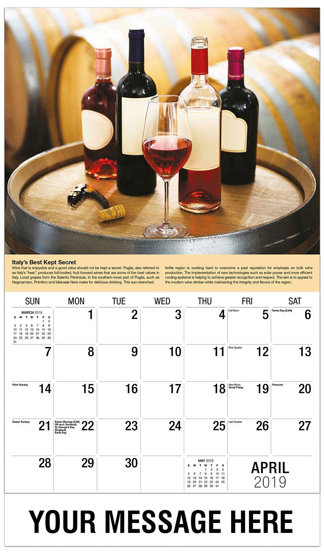 2019 Promo Calendar - Bottles of Wine on Barrel - April