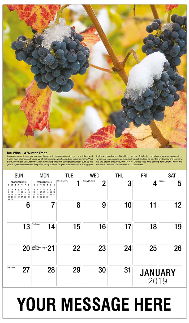 2019 Promotional Calendar - Ice Wine Grapes - January