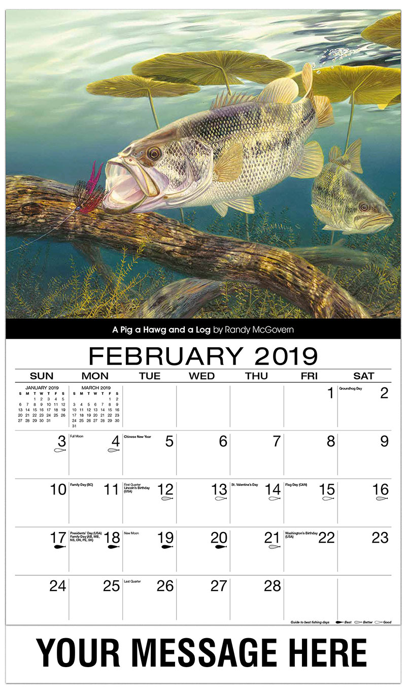 2019 Advertising Calendar - A Pig A Hawg And A Log - February