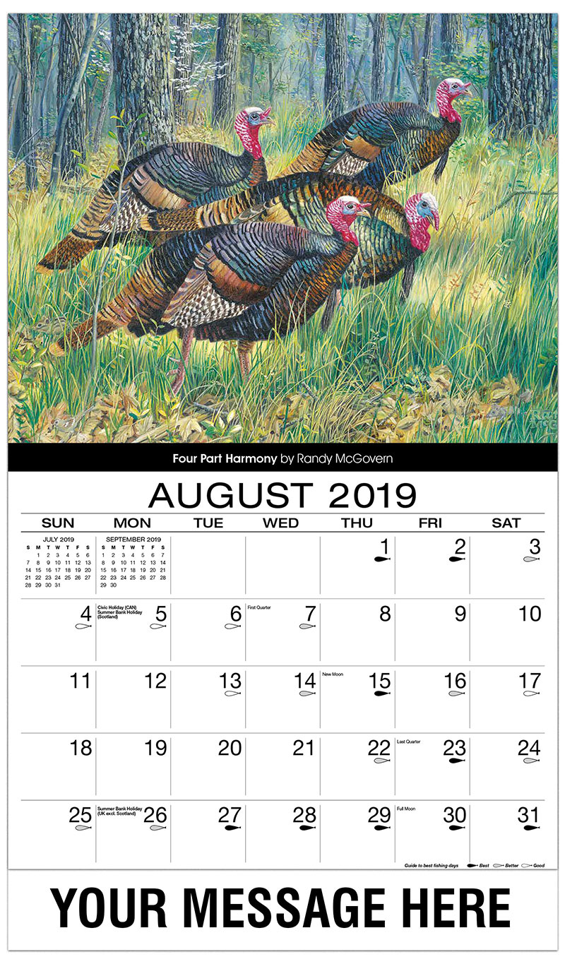 2019 Business Advertising Calendar - Four Part Harmony - August