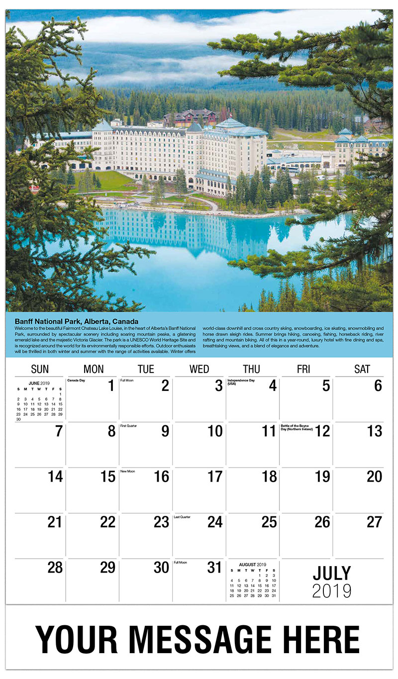 2019 Business Advertising Calendar - Banff National Park, Alberta - July