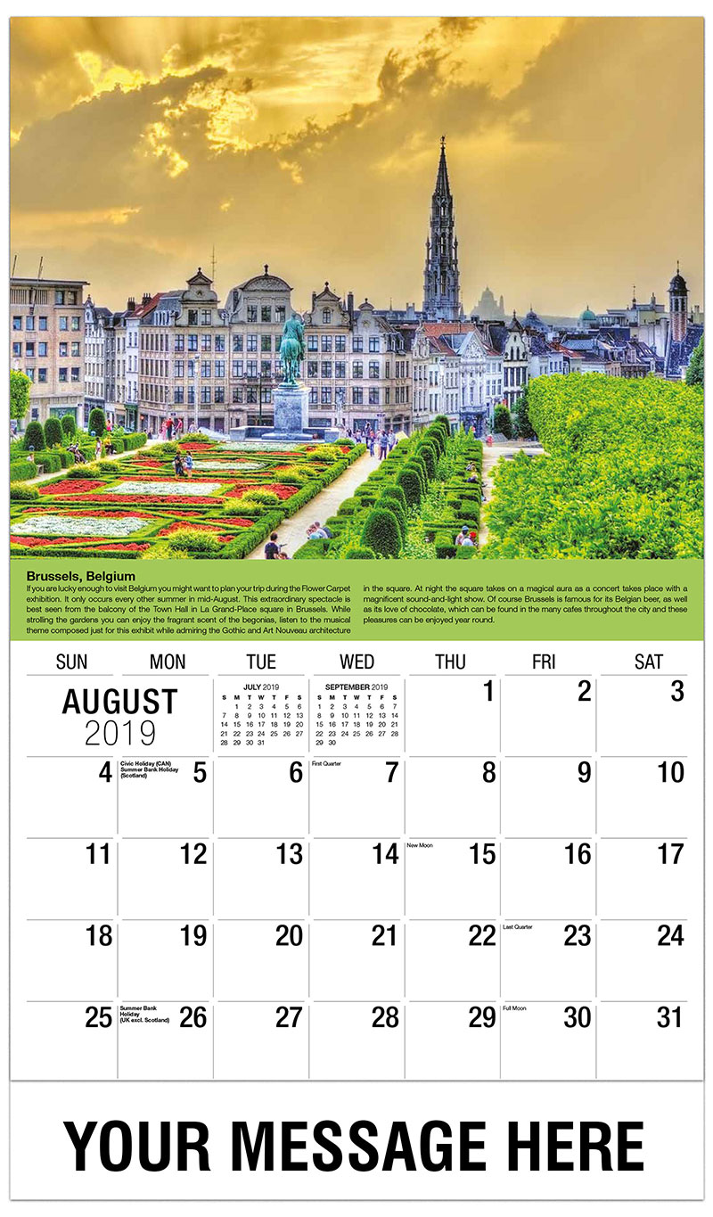2019 Business Advertising Calendar - Brussels, Belgium - August