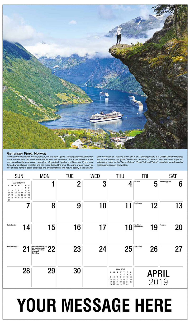 2019 Promotional Calendar - Geiranger Fjord, Norway - April