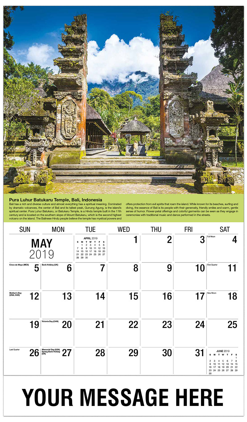 2019 Promotional Calendar - Pura Luhur Batukaru Temple, Bali, Indonesia - May