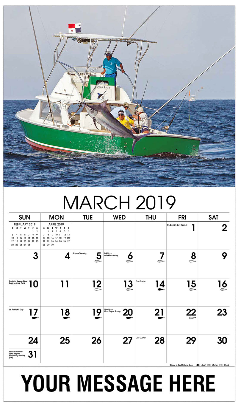 fishing and hunting promotional calendar 65¢ business advertising calendar