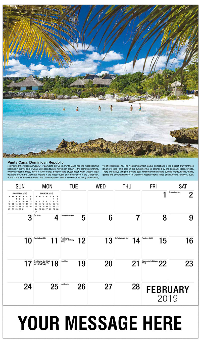 Travel destinations of the world 65 business promo calendar for Warm weather vacations in february