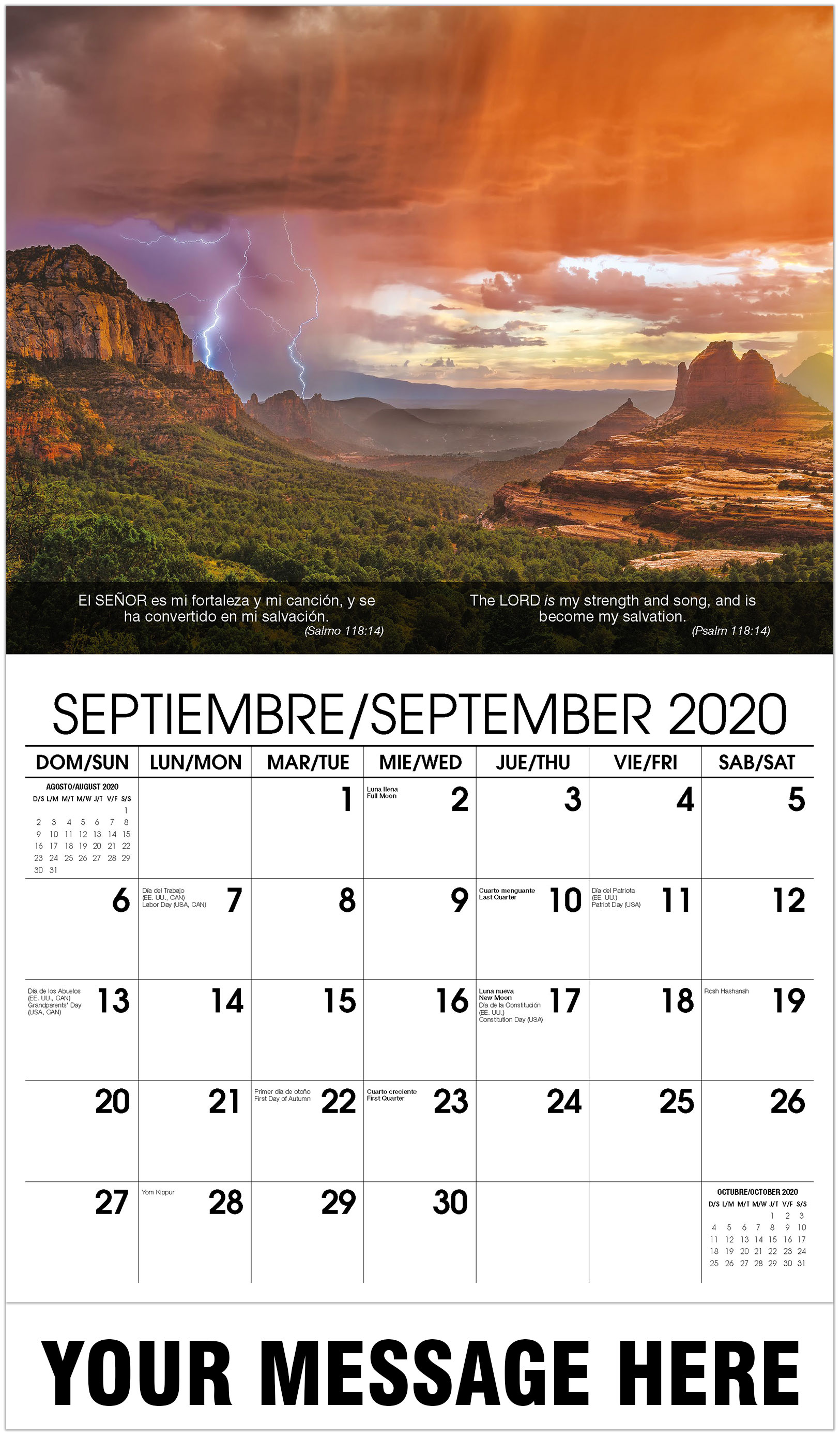 2020 Bilingual Business Advertising Calendar - Lightning In Sky - September