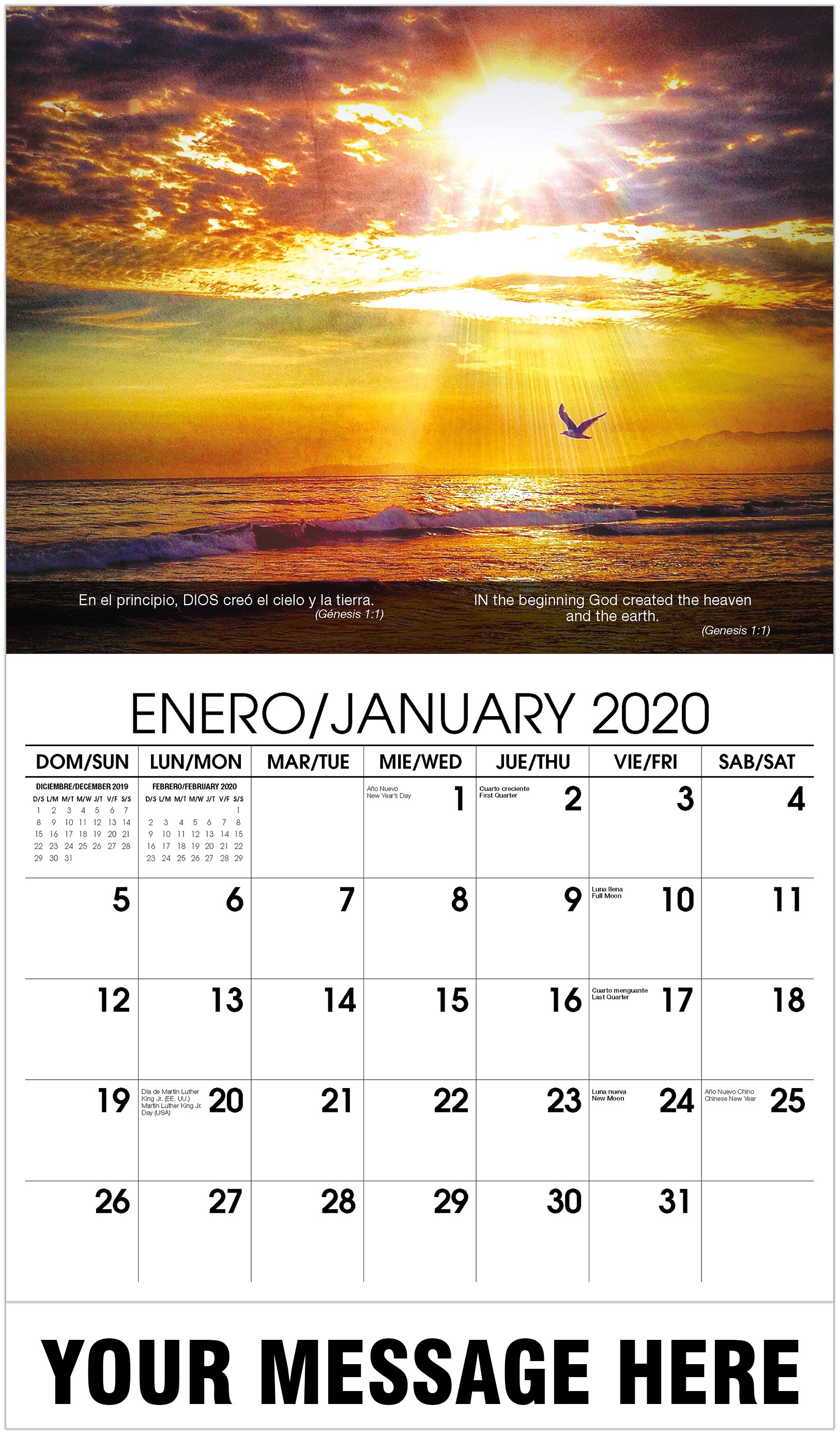 2020 Bilingual Promo Calendar - Bird And Sunset - January