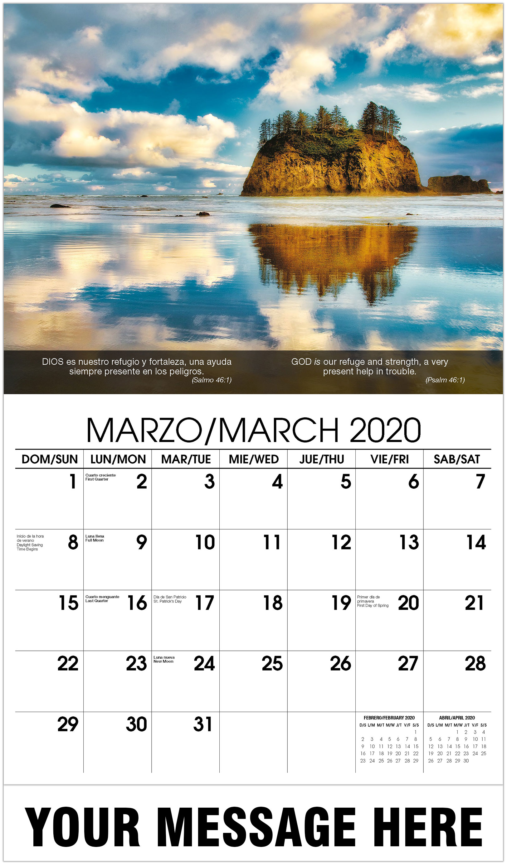 2020 Bilingual Promotional Calendar - Lake With Rock Hill In Middle - March