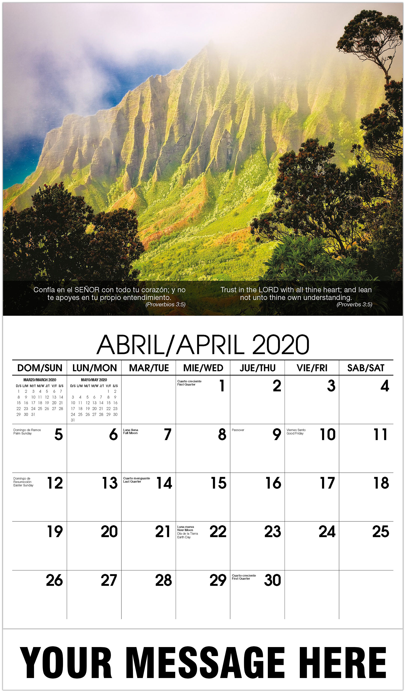 2020 Bilingual Promotional Calendar - Hawaii - April
