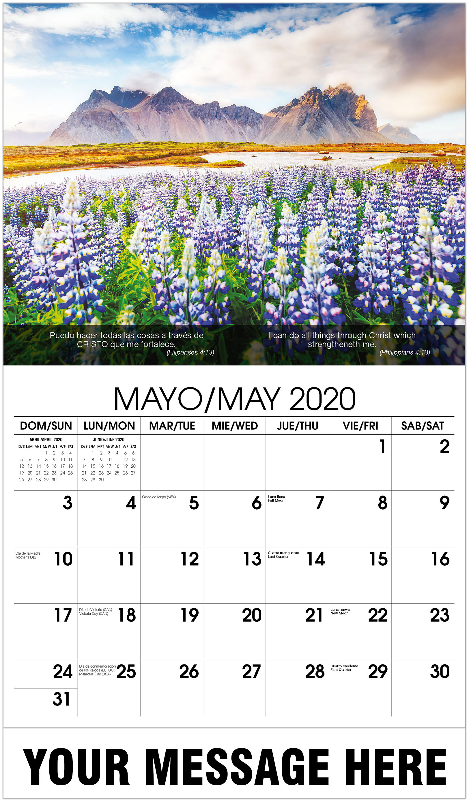 2020 Bilingual Promotional Calendar - Flowers With Mountain In Back - May