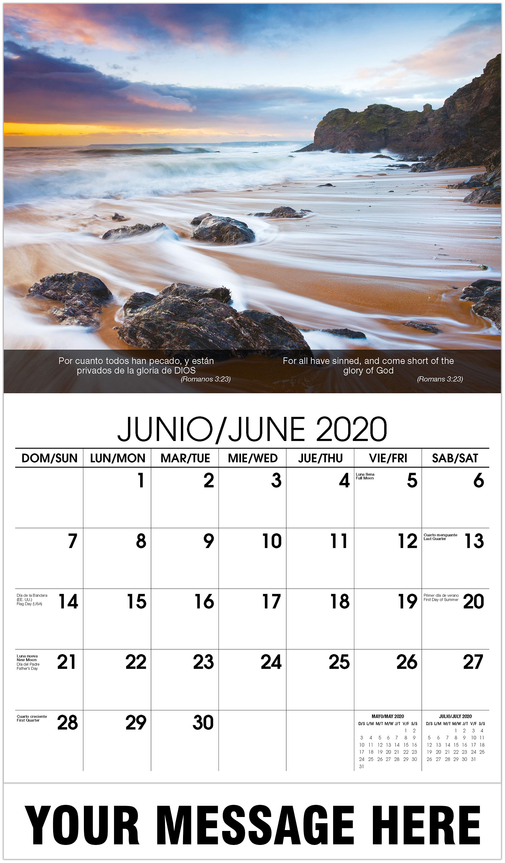 2020 Bilingual Promotional Calendar - Waves On Beach At Sunset - June