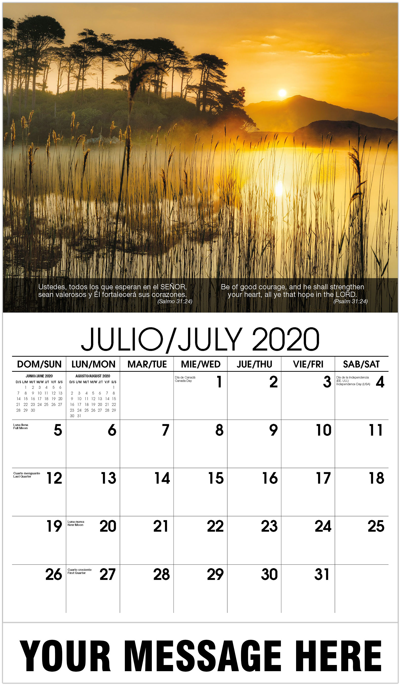 2020 Bilingual Business Advertising Calendar - Water With Reeds In Front And Sunset - July